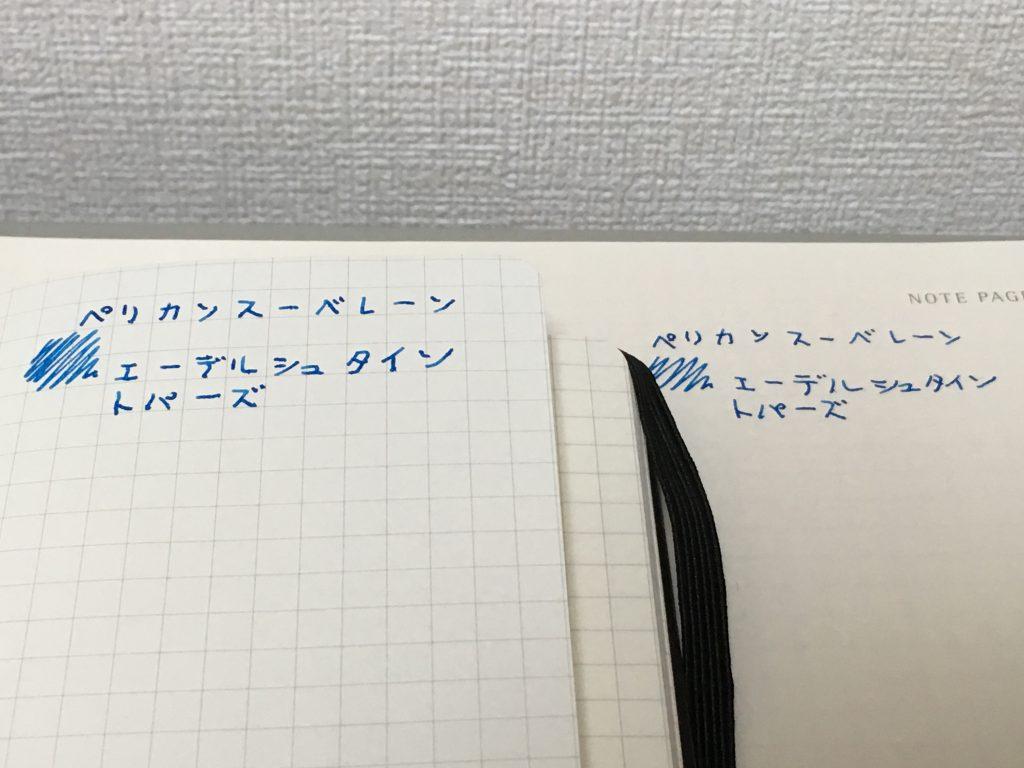 モレスキン(MOLESKINE®︎)プロコレクションワークブックA4 スクエアード(方眼)ワークブックとクラシックノートブック・ポケットの万年筆ペン裏写り(裏抜け)比較。
