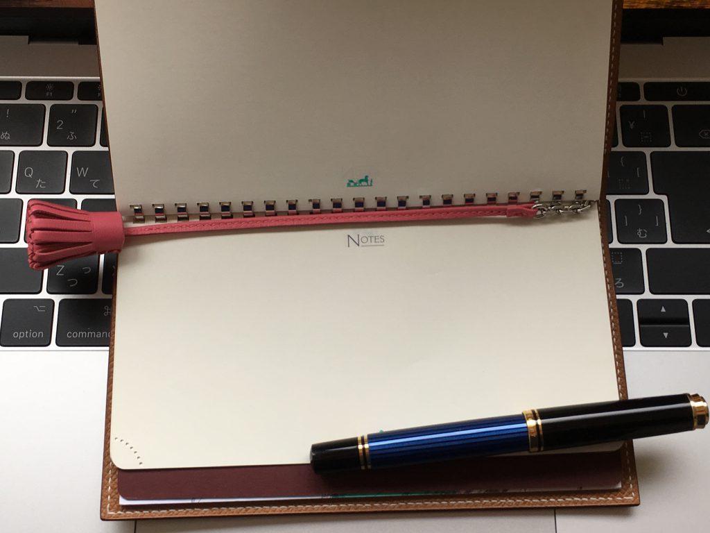 カルメンチータ(ピンク)エルメス手帳での使い方とサイズ感。